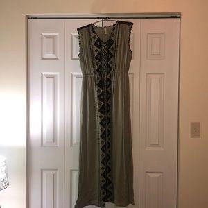 Green Maxi Dress with black Aztec design